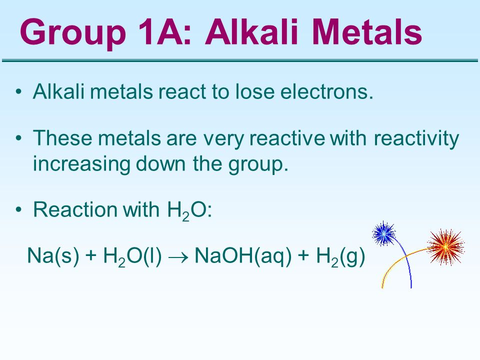 Group 1A: Alkali Metals Alkali metals react to lose electrons. These metals are very reactive with reactivity increasing down the group. Reaction with