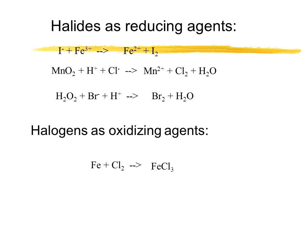Halogens Halogens are among the most commonly encountered elements in redox reactions because they support so many oxidation states.