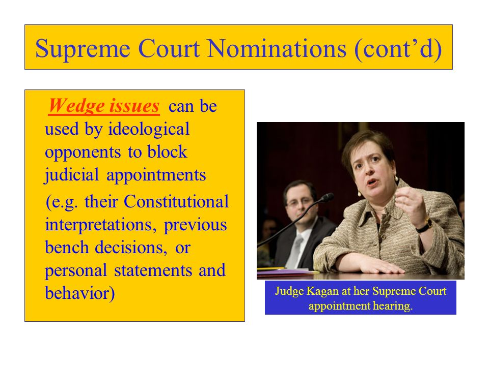 Supreme Court Nominations (contd) Wedge issues can be used by ideological opponents to block judicial appointments (e.g. their Constitutional interpre