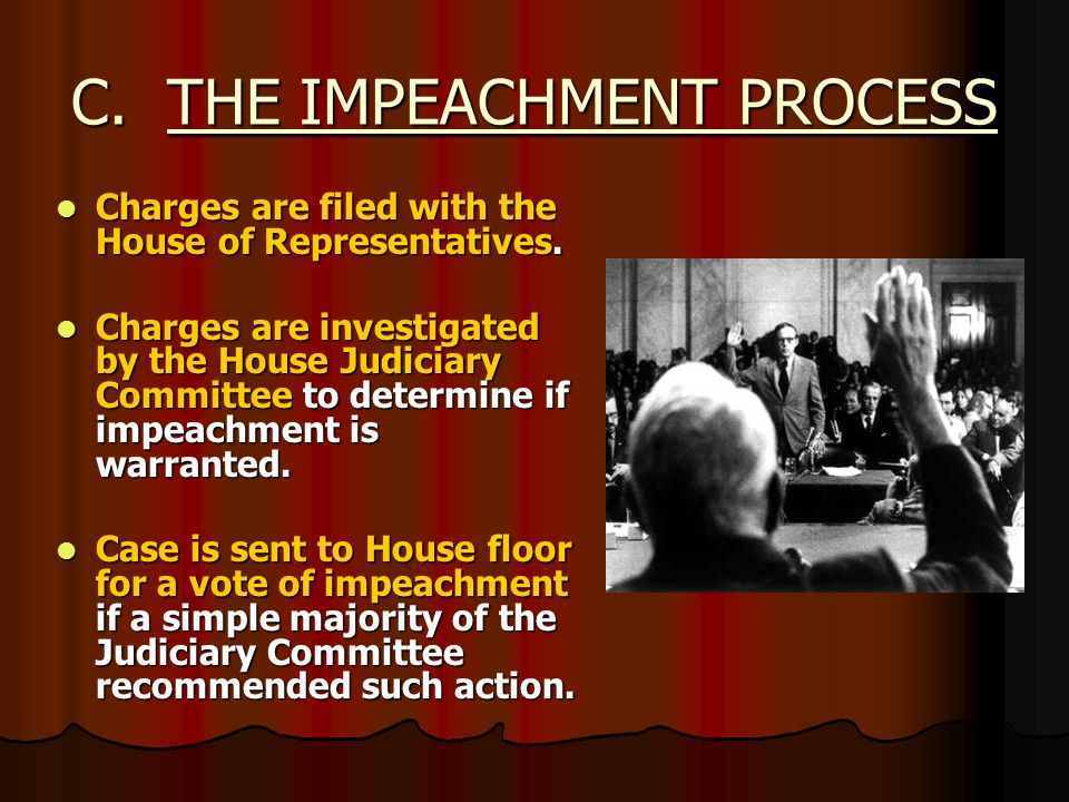 C. THE IMPEACHMENT PROCESS Charges are filed with the House of Representatives. Charges are filed with the House of Representatives. Charges are inves