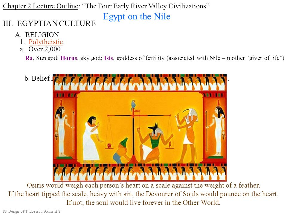 Chapter 2 Lecture Outline: The Four Early River Valley Civilizations Egypt on the Nile III. EGYPTIAN CULTURE A. RELIGION 1. Polytheistic a. Over 2,000