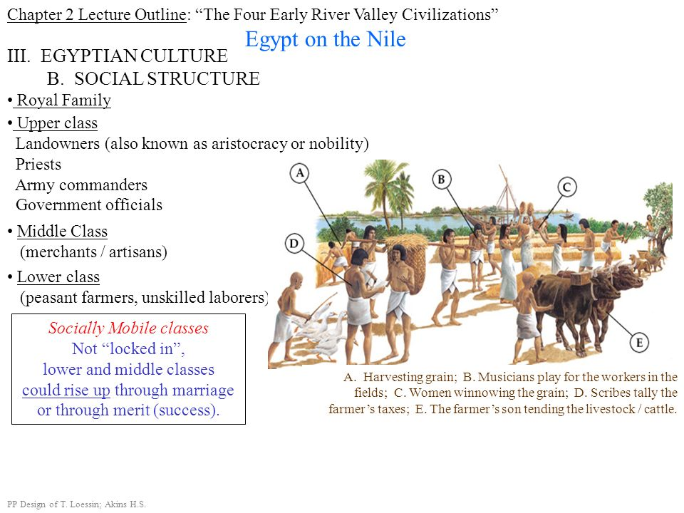 Chapter 2 Lecture Outline: The Four Early River Valley Civilizations Egypt on the Nile III. EGYPTIAN CULTURE B. SOCIAL STRUCTURE Upper class Landowner