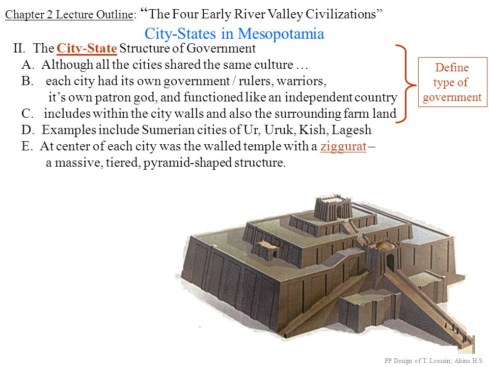 Chapter 2 Lecture Outline: The Four Early River Valley Civilizations City-States in Mesopotamia I. GEOGRAPHY PP Design of T. Loessin; Akins H.S. Sumer