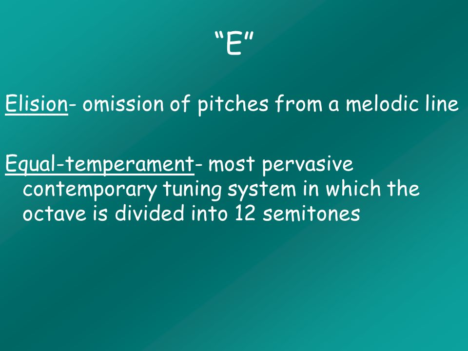 T Timbre- the tone color of an instrument defined by the overtone series Tonicization- transient tonics normally created by a secondary-dominant emphasis Twelve-tone-composition- serial composition based on repetition and transformations of an ordered-set of 12 equal tempered pitch-classes Twelve-tone-row- specific ordering of the twelve equal-tempered pcs that are used to generate a musical composition Two-voice Framework- structural outline of the bass line and the most important upper voice