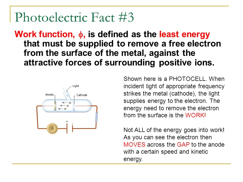 Photoelectric Fact #3 Work function,, is defined as the least energy that must be supplied to remove a free electron from the surface of the metal, ag