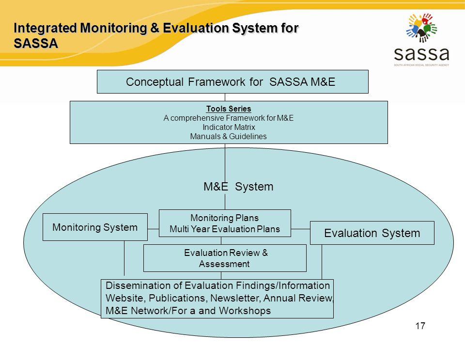 17 Integrated Monitoring & Evaluation System for SASSA Conceptual Framework for SASSA M&E Tools Series A comprehensive Framework for M&E Indicator Mat