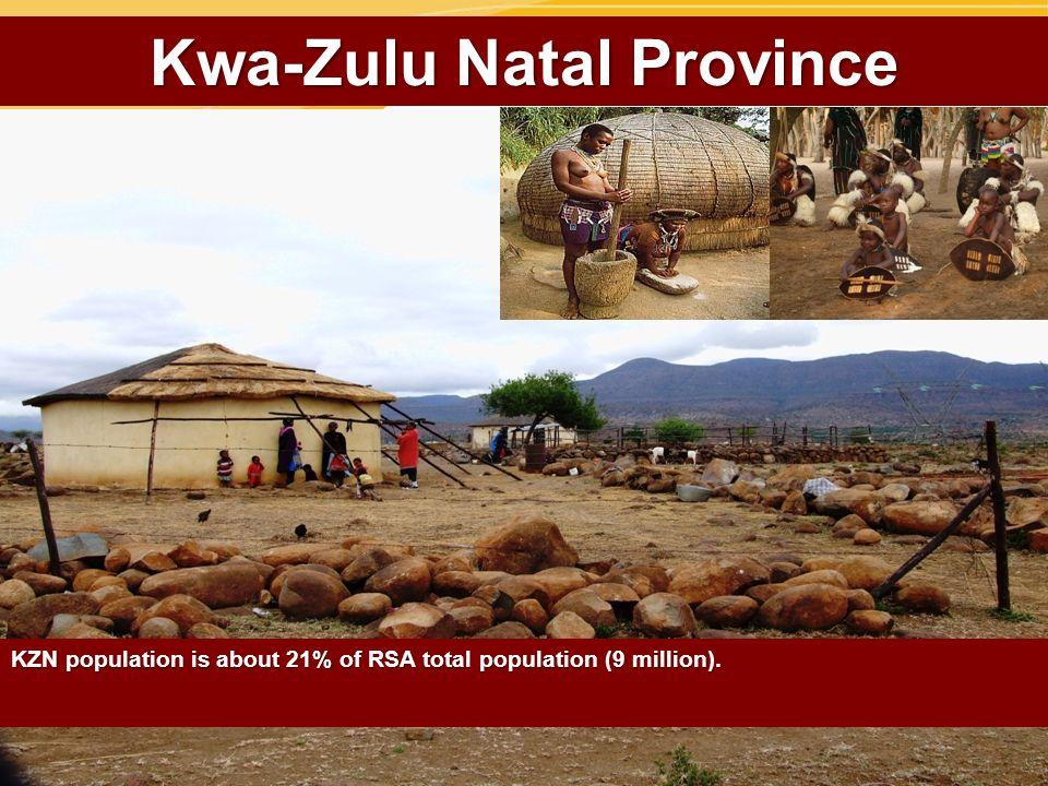 Kwa-Zulu Natal Province KZN population is about 21% of RSA total population (9 million).