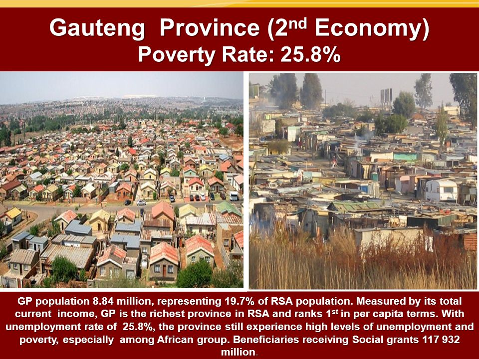 Gauteng Province (2 nd Economy) Poverty Rate: 25.8% GP population 8.84 million, representing 19.7% of RSA population. Measured by its total current in