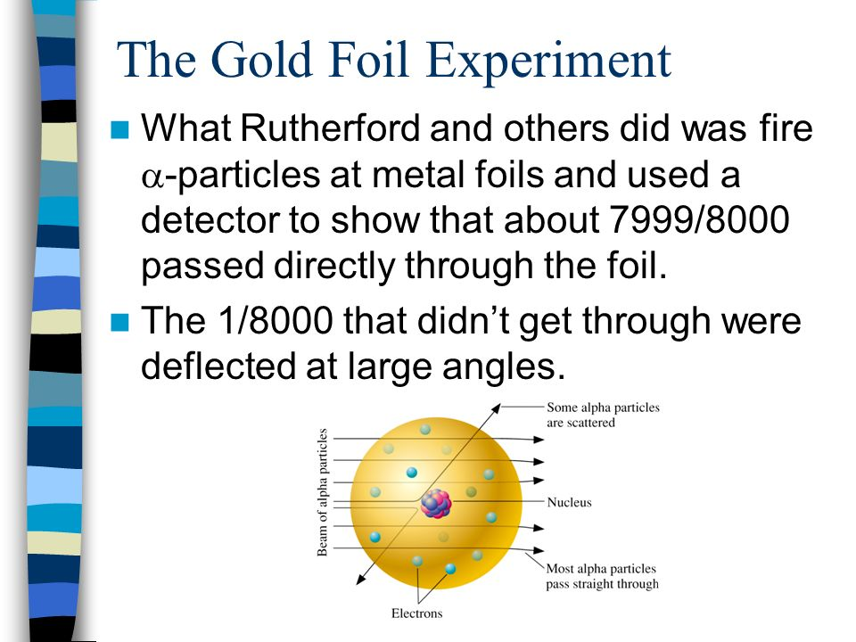 The Gold Foil Experiment What Rutherford and others did was fire -particles at metal foils and used a detector to show that about 7999/8000 passed dir