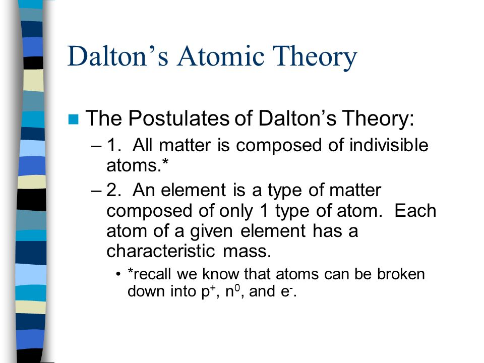Daltons Atomic Theory The Postulates of Daltons Theory: –1. All matter is composed of indivisible atoms.* –2. An element is a type of matter composed
