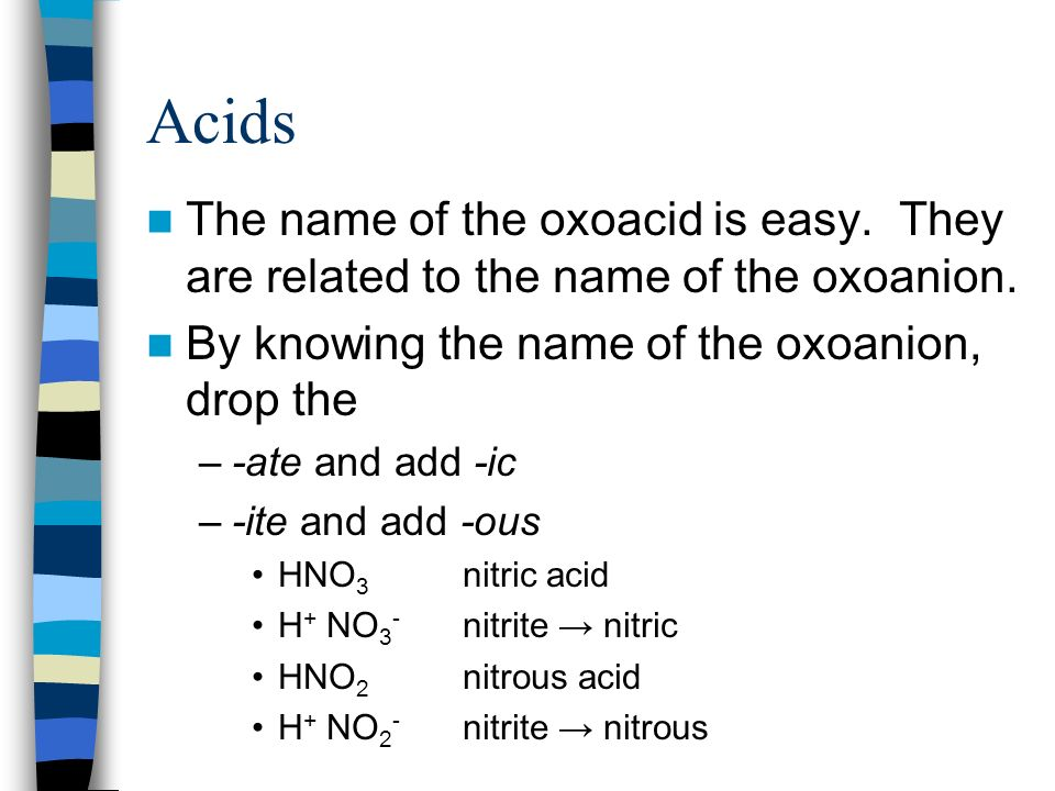 Acids The name of the oxoacid is easy. They are related to the name of the oxoanion. By knowing the name of the oxoanion, drop the –-ate and add -ic –
