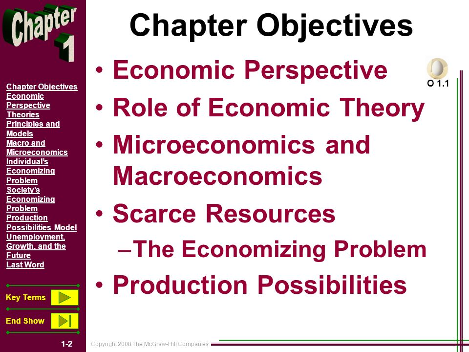 Copyright 2008 The McGraw-Hill Companies 1-2 Chapter Objectives Economic Perspective Theories Principles and Models Macro and Microeconomics Individuals Economizing Problem Societys Economizing Problem Production Possibilities Model Unemployment, Growth, and the Future Last Word Key Terms End Show Chapter Objectives Economic Perspective Role of Economic Theory Microeconomics and Macroeconomics Scarce Resources –The Economizing Problem Production Possibilities O 1.1