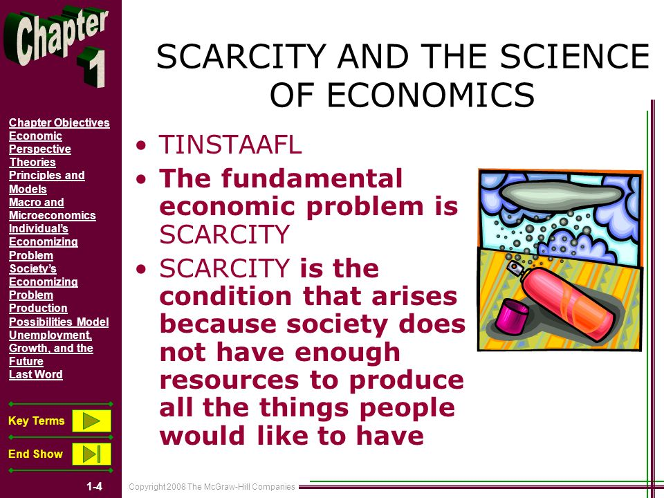 Copyright 2008 The McGraw-Hill Companies 1-4 Chapter Objectives Economic Perspective Theories Principles and Models Macro and Microeconomics Individuals Economizing Problem Societys Economizing Problem Production Possibilities Model Unemployment, Growth, and the Future Last Word Key Terms End Show SCARCITY AND THE SCIENCE OF ECONOMICS TINSTAAFL The fundamental economic problem is SCARCITY SCARCITY is the condition that arises because society does not have enough resources to produce all the things people would like to have