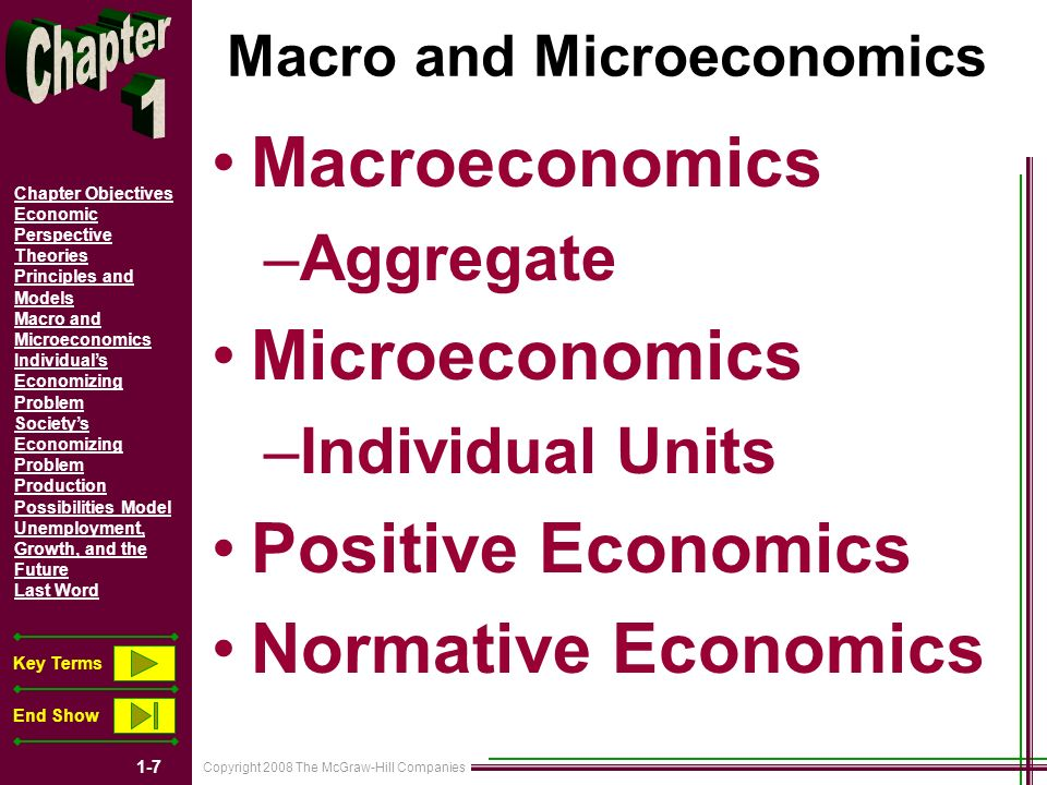 Copyright 2008 The McGraw-Hill Companies 1-28 Chapter Objectives Economic Perspective Theories Principles and Models Macro and Microeconomics Individuals Economizing Problem Societys Economizing Problem Production Possibilities Model Unemployment, Growth, and the Future Last Word Key Terms End Show THREE BASIC ECONOMIC QUESTIONS What to produce.