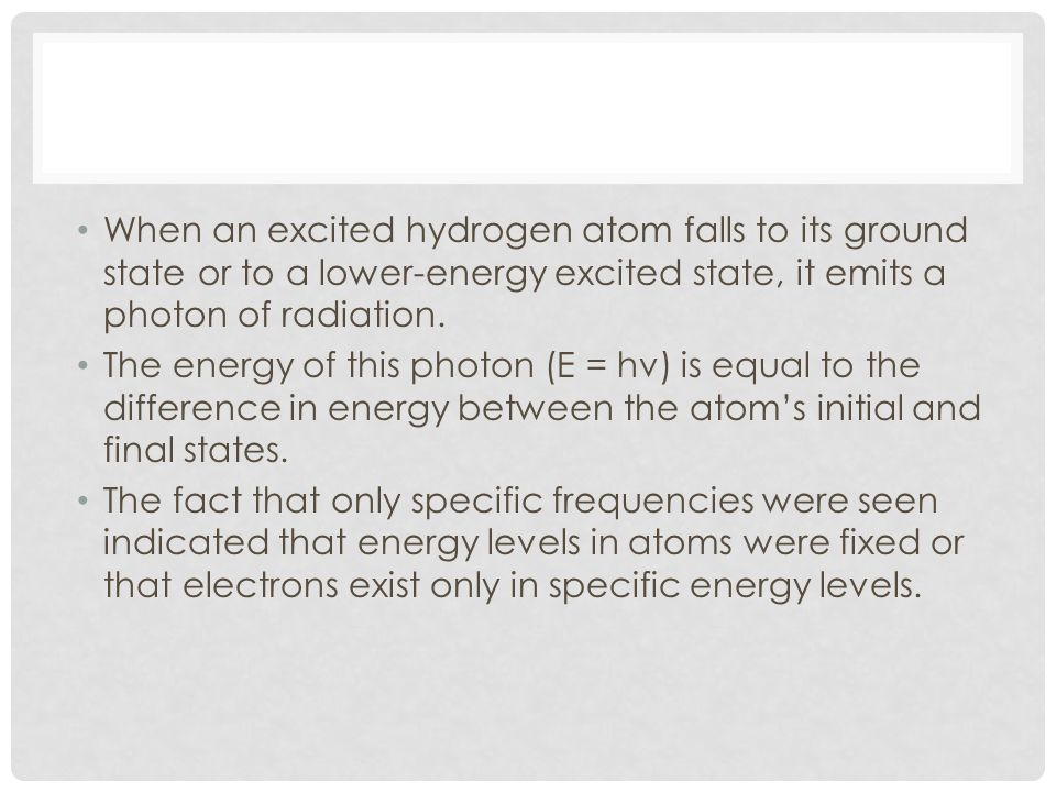 When an excited hydrogen atom falls to its ground state or to a lower-energy excited state, it emits a photon of radiation. The energy of this photon