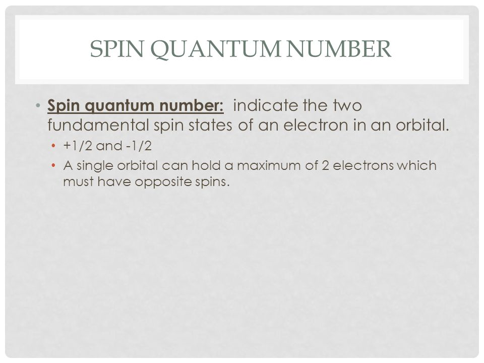SPIN QUANTUM NUMBER Spin quantum number: indicate the two fundamental spin states of an electron in an orbital. +1/2 and -1/2 A single orbital can hol