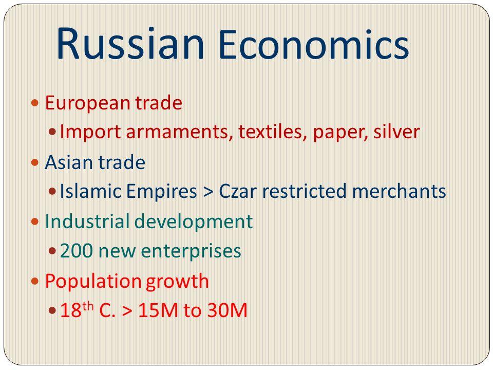 Russian Economics European trade Import armaments, textiles, paper, silver Asian trade Islamic Empires > Czar restricted merchants Industrial developm