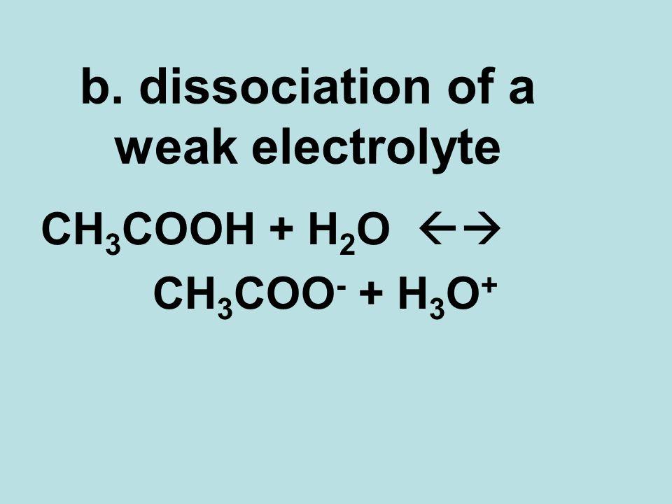 b. dissociation of a weak electrolyte CH 3 COOH + H 2 O CH 3 COO - + H 3 O +