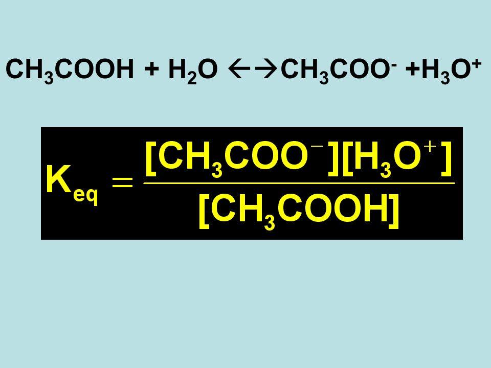 CH 3 COOH + H 2 O CH 3 COO - +H 3 O +