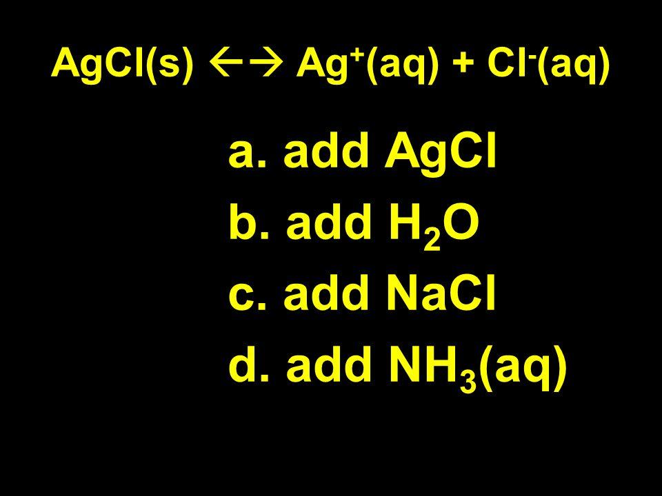 AgCl(s) Ag + (aq) + Cl - (aq) a. add AgCl b. add H 2 O c. add NaCl d. add NH 3 (aq)