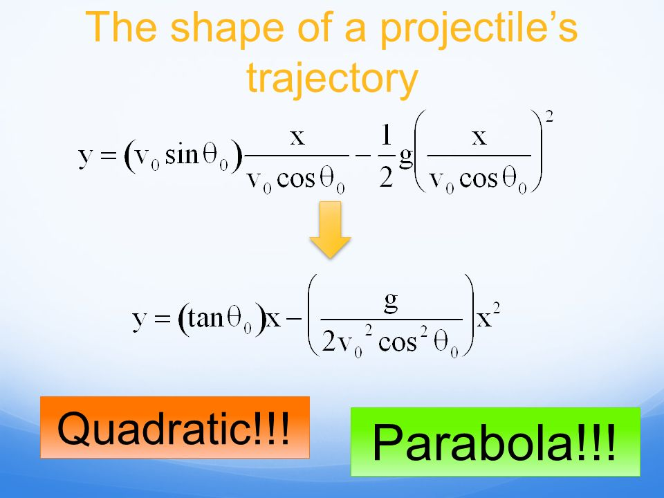 The shape of a projectiles trajectory Quadratic!!! Parabola!!!