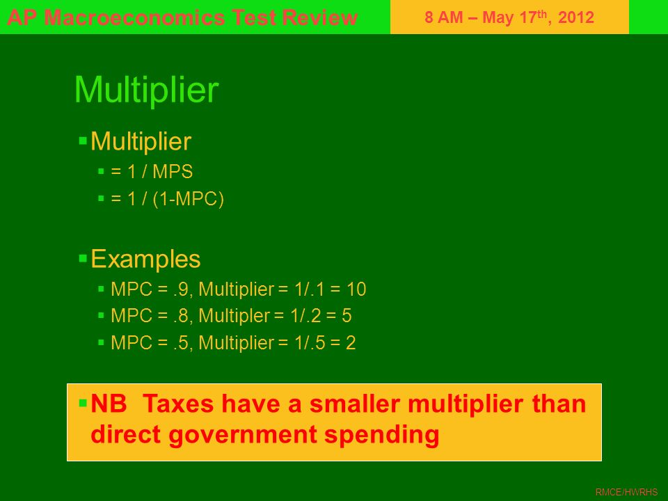 8 AM – May 17 th, 2012 AP Macroeconomics Test Review RMCE/HWRHS Multiplier = 1 / MPS = 1 / (1-MPC) Examples MPC =.9, Multiplier = 1/.1 = 10 MPC =.8, M
