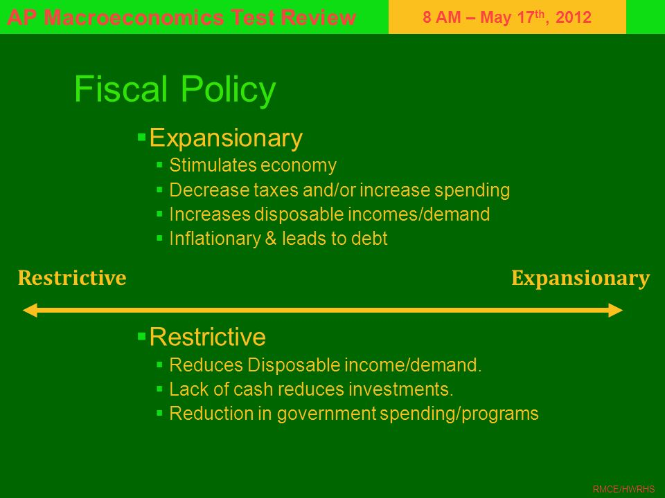 8 AM – May 17 th, 2012 AP Macroeconomics Test Review RMCE/HWRHS Fiscal Policy Expansionary Stimulates economy Decrease taxes and/or increase spending