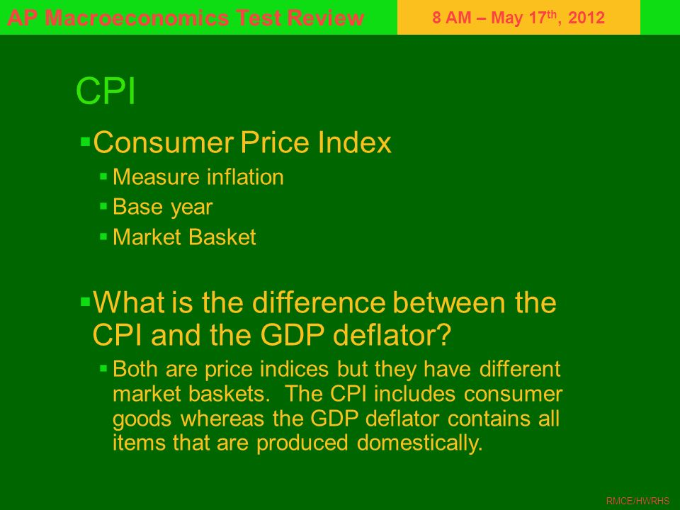 8 AM – May 17 th, 2012 AP Macroeconomics Test Review RMCE/HWRHS CPI Consumer Price Index Measure inflation Base year Market Basket What is the differe