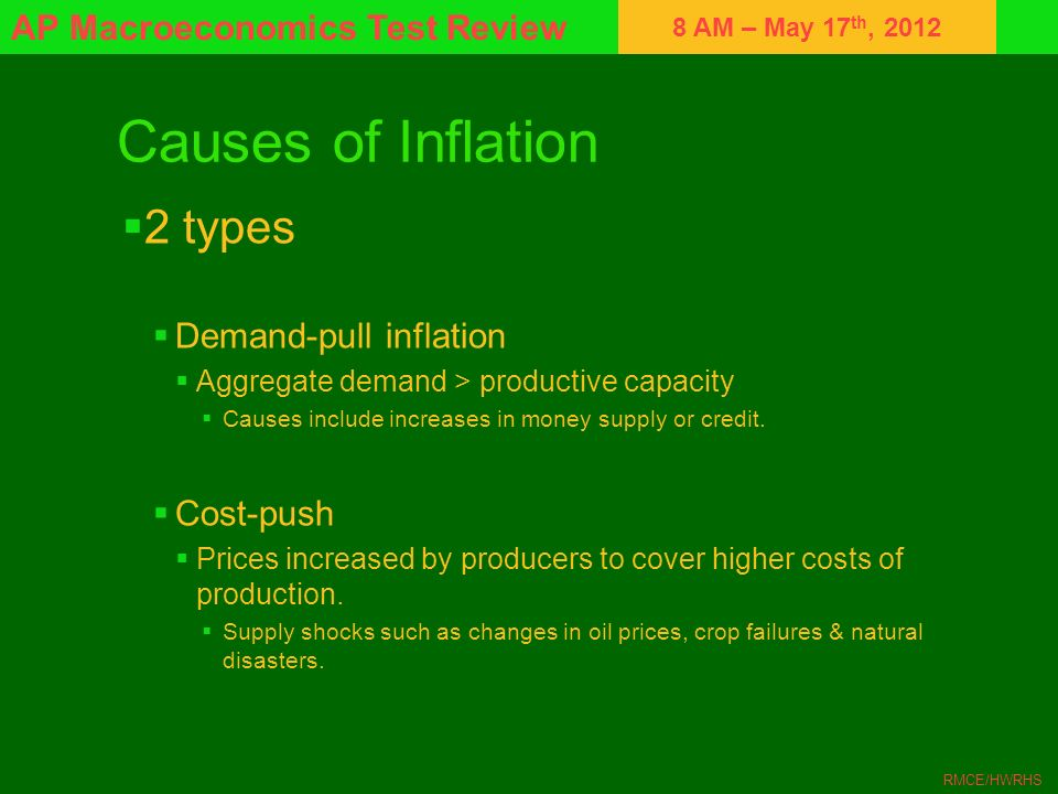 8 AM – May 17 th, 2012 AP Macroeconomics Test Review RMCE/HWRHS Causes of Inflation 2 types Demand-pull inflation Aggregate demand > productive capaci