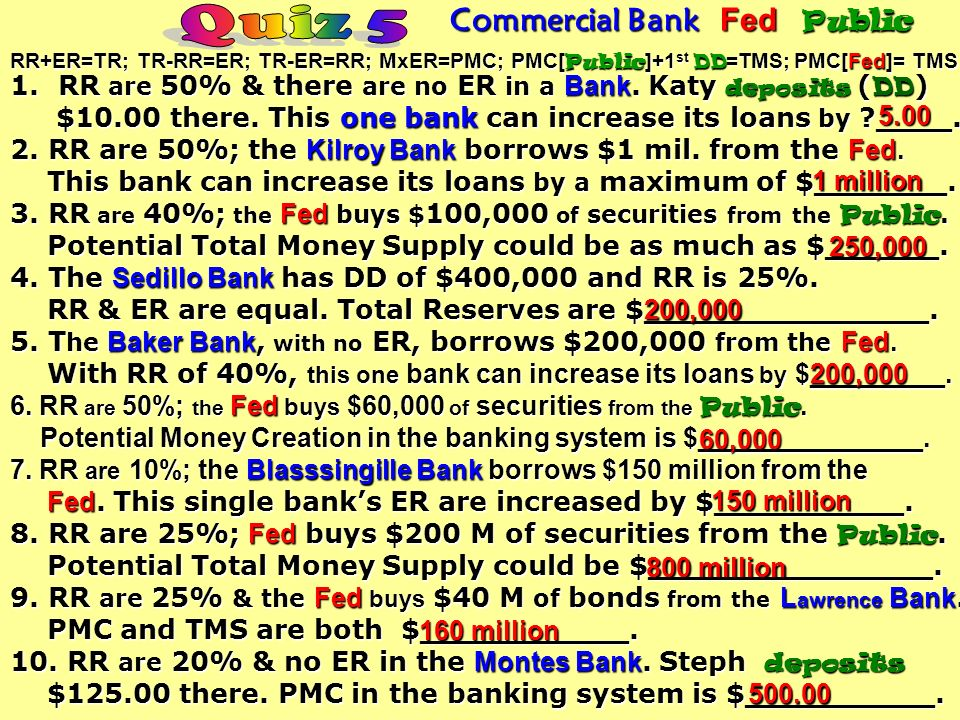 1.RR are 10% & there are no ER in the Hicks Bank. Trey deposits ( DD ) $200.00 there. This one bank can increase deposits ( DD ) $200.00 there. This o