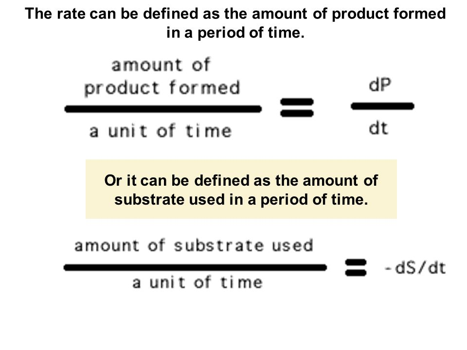 The rate can be defined as the amount of product formed in a period of time. Or it can be defined as the amount of substrate used in a period of time.