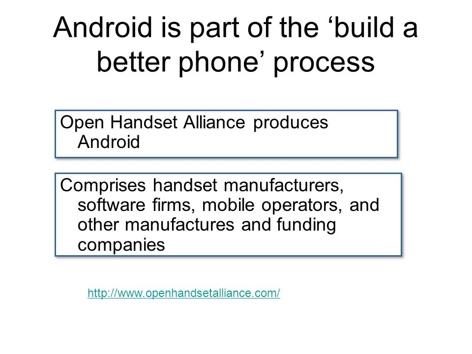 Android is part of the build a better phone process Open Handset Alliance produces Android Comprises handset manufacturers, software firms, mobile operators, and other manufactures and funding companies
