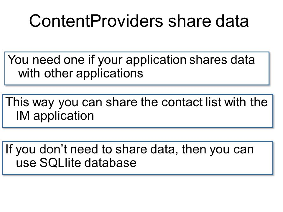ContentProviders share data You need one if your application shares data with other applications This way you can share the contact list with the IM application If you dont need to share data, then you can use SQLlite database