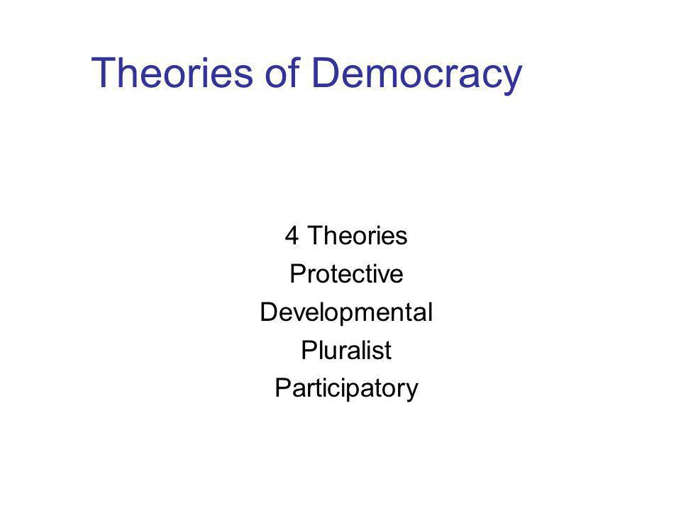 Theories of Democracy 4 Theories Protective Developmental Pluralist Participatory