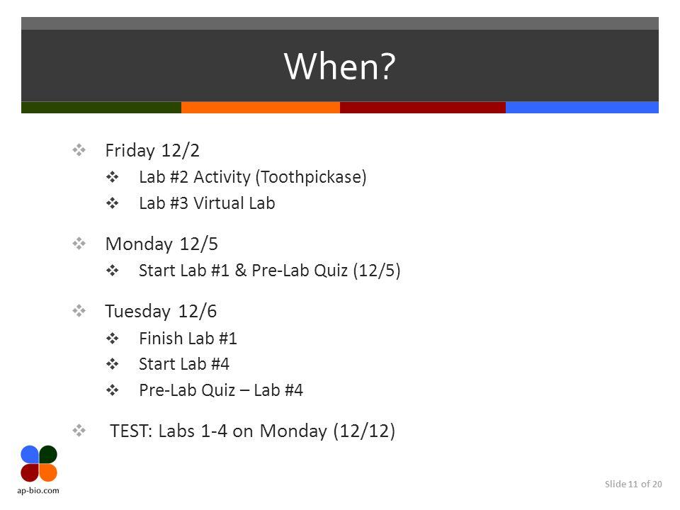 Slide 11 of 20 When? Friday 12/2 Lab #2 Activity (Toothpickase) Lab #3 Virtual Lab Monday 12/5 Start Lab #1 & Pre-Lab Quiz (12/5) Tuesday 12/6 Finish
