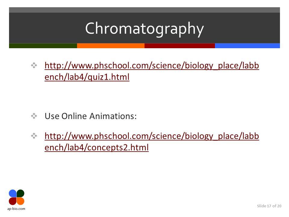 Slide 17 of 20 Chromatography http://www.phschool.com/science/biology_place/labb ench/lab4/quiz1.html http://www.phschool.com/science/biology_place/la