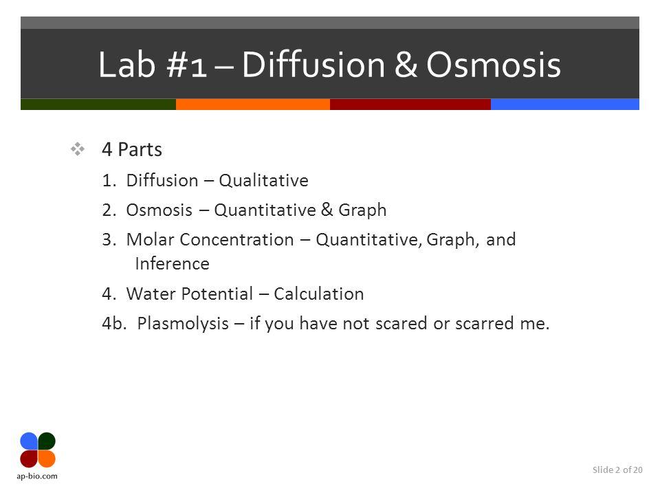 Slide 2 of 20 Lab #1 – Diffusion & Osmosis 4 Parts 1. Diffusion – Qualitative 2. Osmosis – Quantitative & Graph 3. Molar Concentration – Quantitative,