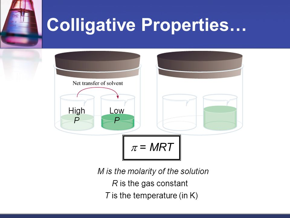 Colligative Properties… High P Low P = MRT M is the molarity of the solution R is the gas constant T is the temperature (in K)