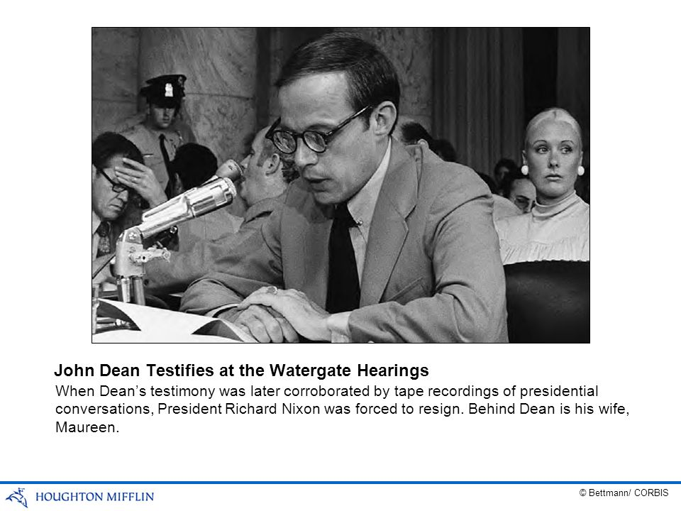 When Deans testimony was later corroborated by tape recordings of presidential conversations, President Richard Nixon was forced to resign. Behind Dea