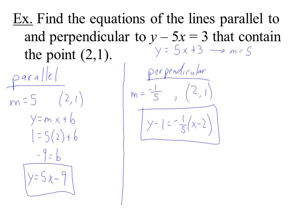 Ex. Find the equations of the lines parallel to and perpendicular to y – 5x = 3 that contain the point (2,1).