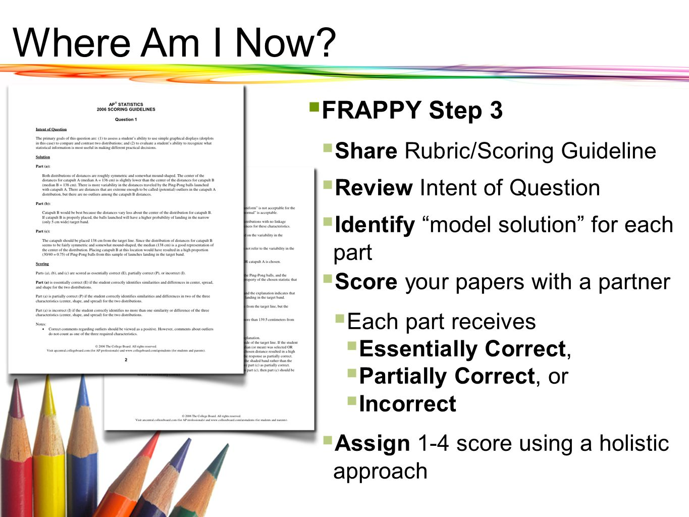 Where Am I Now? FRAPPY Step 3 Share Rubric/Scoring Guideline Review Intent of Question Identify model solution for each part Score your papers with a