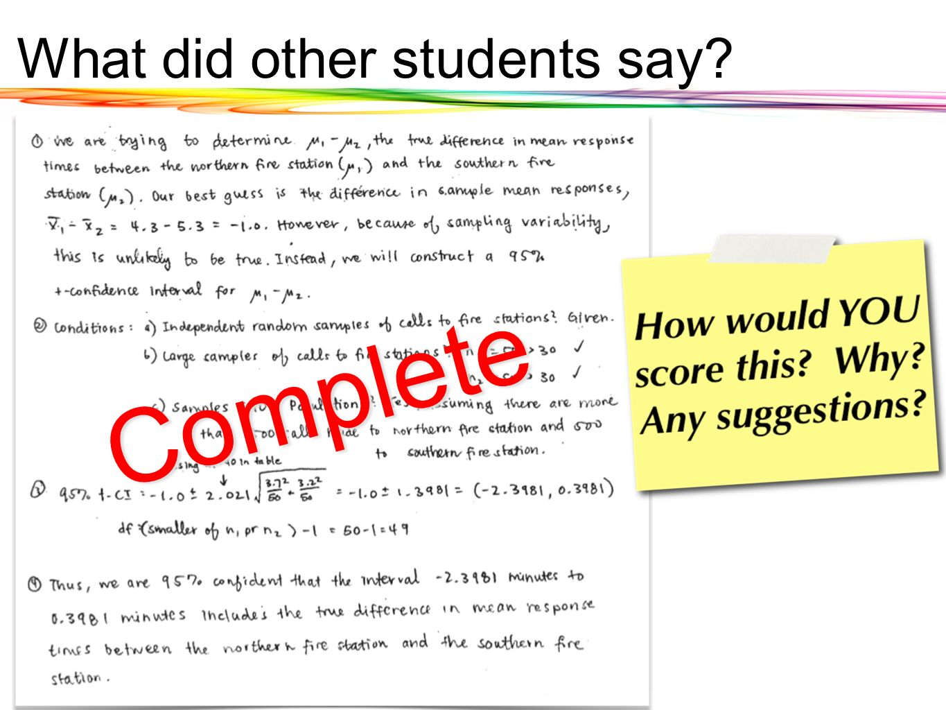 What did other students say? Complete