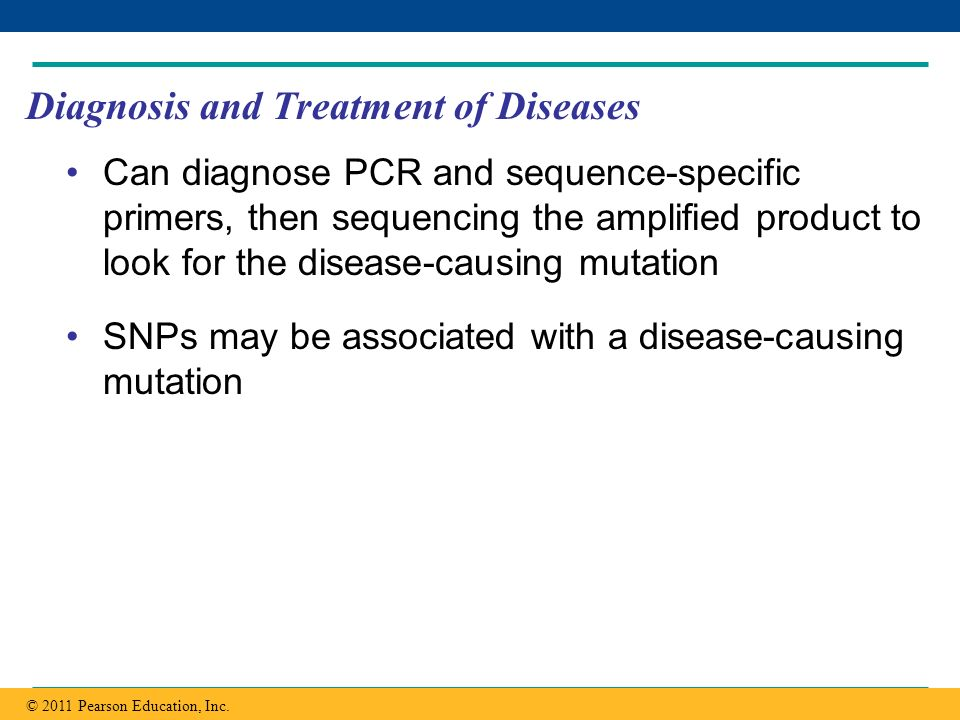 Copyright © 2005 Pearson Education, Inc. publishing as Benjamin Cummings Diagnosis and Treatment of Diseases Can diagnose PCR and sequence-specific pr