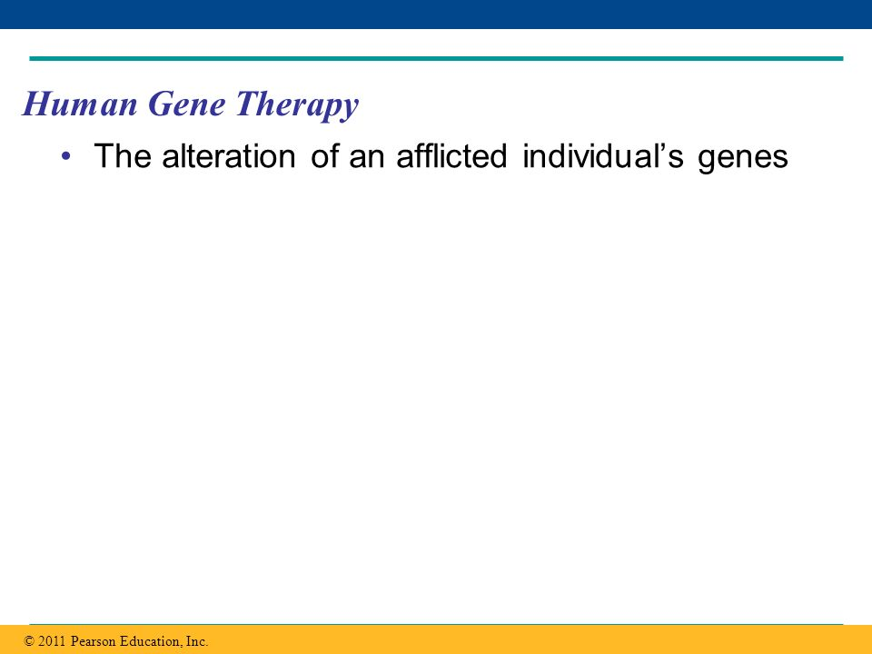 Copyright © 2005 Pearson Education, Inc. publishing as Benjamin Cummings Human Gene Therapy The alteration of an afflicted individuals genes © 2011 Pe