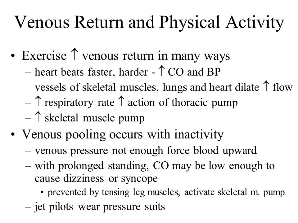 Venous Return and Physical Activity Exercise venous return in many ways –heart beats faster, harder - CO and BP –vessels of skeletal muscles, lungs an