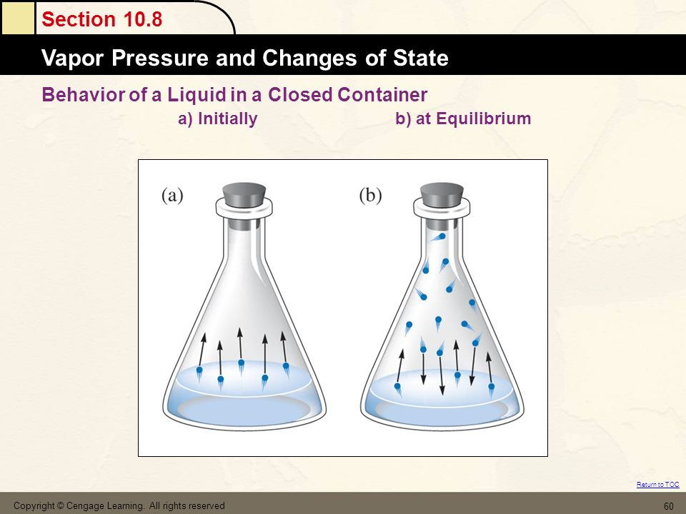 Section 10.8 Vapor Pressure and Changes of State Return to TOC Copyright © Cengage Learning.