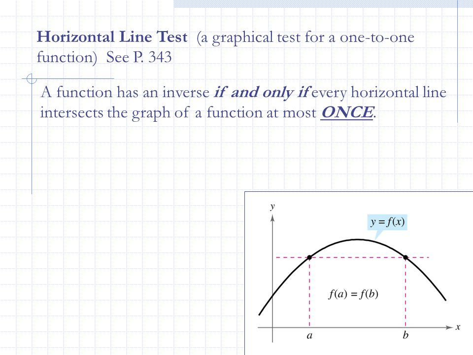 Horizontal Line Test (a graphical test for a one-to-one function) See P. 343 A function has an inverse if and only if every horizontal line intersects