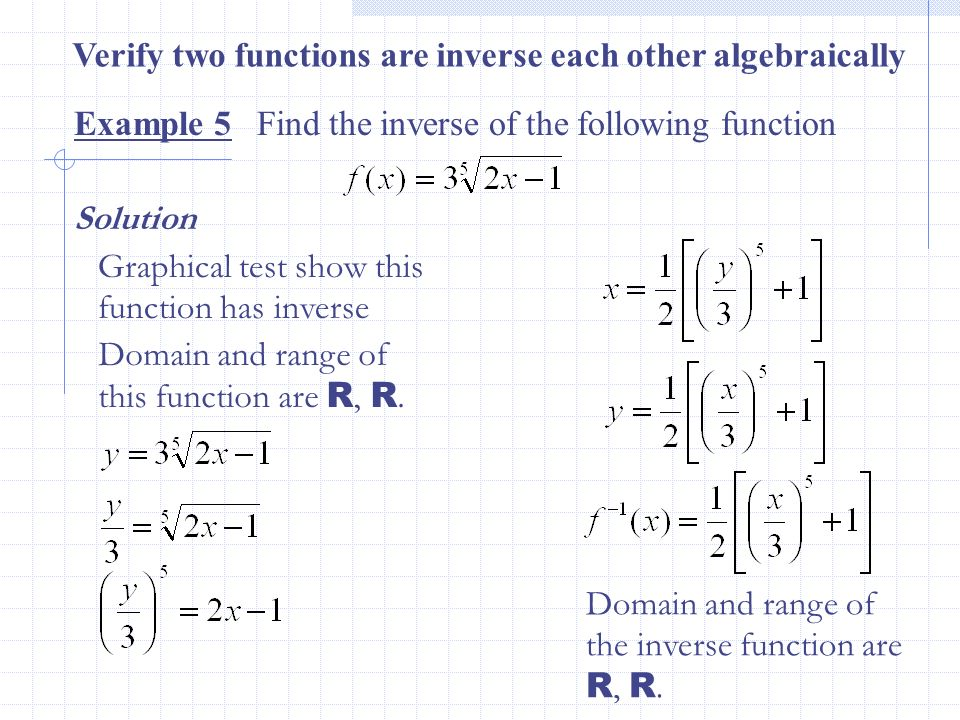 Example 5 Find the inverse of the following function Verify two functions are inverse each other algebraically Solution Graphical test show this funct