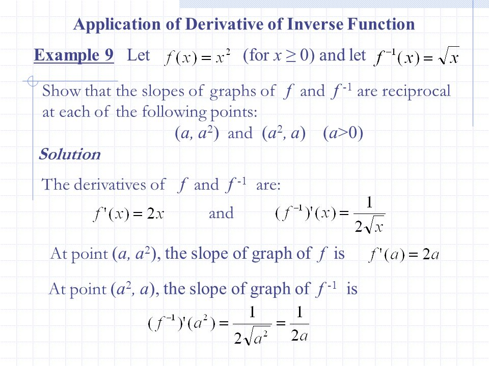 Example 9 Let (for x 0) and let Application of Derivative of Inverse Function Solution The derivatives of f and f -1 are: and Show that the slopes of
