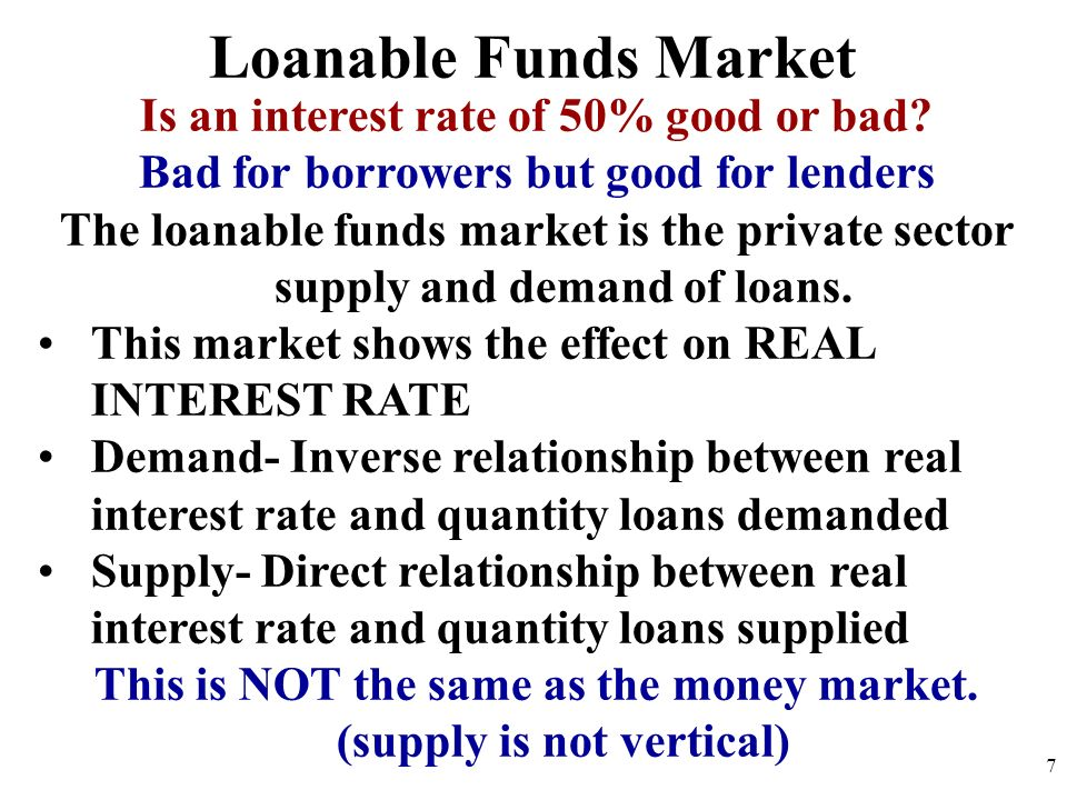 Is an interest rate of 50% good or bad? Bad for borrowers but good for lenders The loanable funds market is the private sector supply and demand of lo